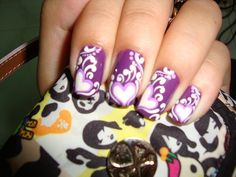 Nail Art from Vietnam – purple nails with hearts and white accents
