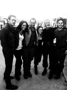 "Jason O'Mara, Simone Kessell, Rod Hallett, Allison Miller, Stephen Lang and Dean Geyer on the set of ""Terra Nova""."