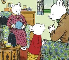 Rupert Bear and his Mom and Dad