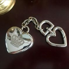 """Juicy Couture ❤️ Keychain ❤️ Heavy Juicy Couture ❤️logo keychain❤️never used❤️7in total length❤️heart measures   2.5"""" x 2"""" wide❤️trades❤️ use offer button via all listings❤️thank you Juicy Couture Accessories Key & Card Holders"""