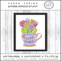 Friends Picture Frame, Spring Bouquet, Spring Art, Frame Display, Framed Prints, Art Prints, Friend Pictures, Kitchen Art, Whimsical Art