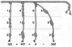 The diagram (above) shows how the Inca calculated numbers on the quipu. [...] The color of the cords was also significant in that it represented the item which was being counted. The color depended upon the nature of the object; yellow for gold, red for the army, and white for peace. As the colors were limited, some colors had different meanings depending on the general purpose of the Quipu in question.
