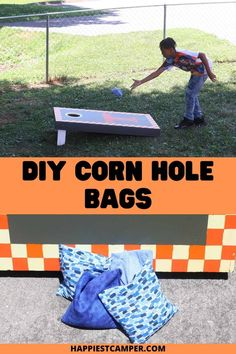 Have the board but left the Bags out in the rain and hey got ruined? No problem make your own out of better fabric so they will last. I show you this easy DIY Corn Hole Bags tutorial. This truly is a beginners sewing project that anyone can do in under 30 minutes. Start making your own corn hole bags today. Easy Sewing Projects, Sewing Projects For Beginners, Sewing Tutorials, Sewing Crafts, Fun Summer Activities, Fun Arts And Crafts, Chickens Backyard, Cornhole, Free Sewing