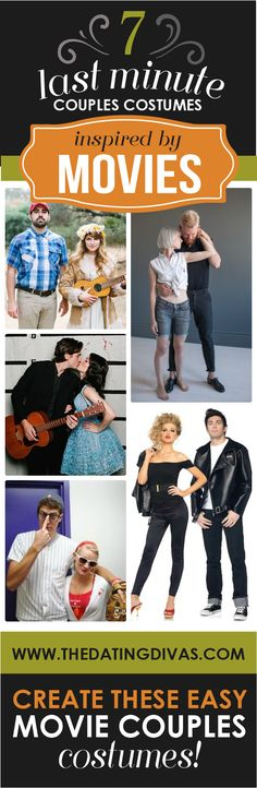 These are clever and EASY!  #halloween #costumes Movie Couples Costumes, Last Minute Couples Costumes, Easy Couple Halloween Costumes, Family Costumes, Halloween Kostüm, Creative Halloween Costumes, Holidays Halloween, Clever Couple Costumes, Easy Costumes