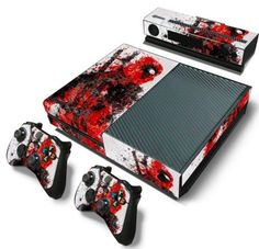 Protect your XBOX One with style! This Deadpool skin will protect your console from scratching, fading, and peeling. Patented advanced air-release vinyl guarantees a perfect installation every time. Deadpool Skin, Geek Games, Xbox Games, Xbox One Capa, Control Xbox, Wii, Nintendo, Xbox One Skin, Games