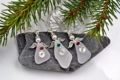 Frosty White Holiday Sea Glass Angel Ornament With Red -OR-Green Swarovski Crystal on Etsy, $8.00