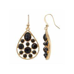 Black Stone Nickel Free Teardrop Earrings, Women's