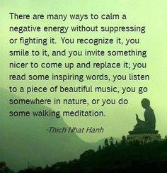 há muitas maneiras de acalmar a energia negativa sem suprimir ou combatê-la. você reconhecê-lo, você sorri para ele, e você convidar algo agradável para vir e substituí-lo; você ler algumas palavras de inspiração, você ouvir uma música bonita, você vai em algum lugar na natureza, ou você fazer uma caminhada de meditação