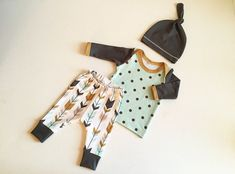 Newborn Baby Boy Coming Home Outfit, Boys Clothing, Pants Shirt with Matching Hat, Tribal, Arrows, Native - Premium Fabric on Etsy, $64.00