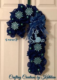Candy Cane Lane Collection - Blue Burlap Candy Cane - Let it Snow! Christmas Mesh Wreaths, Deco Mesh Wreaths, Christmas Crafts, Christmas Poinsettia, Burlap Wreaths, Christmas Ornaments, Christmas Decorations, Wreath Crafts, Diy Wreath