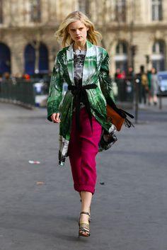 dries van noten coat & top with balenciaga shoes | pink and greens