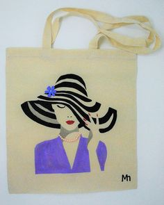Black jute tote bag with hand-painted cute cat on the front medium resistant bag practical shopping bag