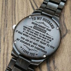 Husband Watch - Perfect Gifts For Husband - Engraved Wooden Watch - Men's Watch Limited stock! 35 people are viewing this, 350 recently purchased it have it in their cart. Word spoken was for Perfect Gift For Boyfriend, Boyfriend Gifts, Necklace For Boyfriend, Gifts For Fiance, Gifts For Him, Love Gifts, Great Gifts, Diy Gifts, Creative Gifts