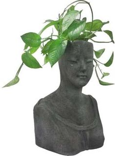 "Hand-Crafted Fiber Queen-Bust Planter in Gray Color – 38"" Big Flower Pot – Artistic Indoor & Outdoor Décor Buy in Bulk Wholesale"