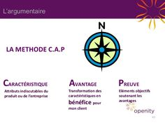 L'argumentaire  LA METHODE C.A.P  CARACTÉRISTIQUE Attributs indiscutables du produit ou de l'entreprise  AVANTAGE  PREUVE ...