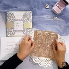 Fall In Love with Glittery and Sparkly Wedding Invitations - Elegant Laser Cut Wedding Invitations with Glitter Paper DIY - Diy Halloween Wedding Invitations, Wedding Invitation Video, Laser Cut Wedding Invitations, Printable Wedding Invitations, Diy Invitations, Invitation Design, Wedding Stationery, Glitter Invitations, Invitation Paper