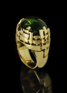 Canturi Cubism ring with green tourmaline by Stefano Canturi.....WANT!