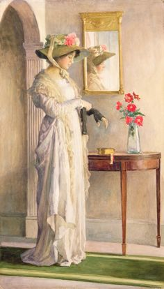 William Henry Margetson - A Moments Reflection, 1909 (w/c on paper)