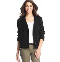 "Merino Wool Blend Cable Sleeve Jacket - Done in a luxe merino wool blend - and finished with cozy cute cable knit sleeves - we're obsessed with the outdoorsy chic of this smart style. Notched lapel. Hidden double breasted snap closure. Front welt pockets. Back vent. 23"" long."