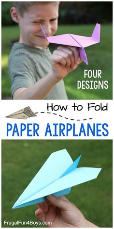 How to Make Awesome Paper Airplanes! 4 Designs - Frugal Fun For Boys and Girls - Paper Crafts - How to Make Awesome Paper Airplanes! 4 designs that fly really well. Awesome kids craft and boredom - Paper Crafts For Kids, Fun Crafts For Kids, Diy For Kids, Paper Folding For Kids, Easy Crafts, Diy Paper, Paper Crafting, Paper Airplane Book, Airplane Kids