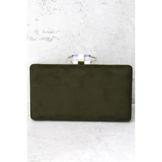 Crystal Visions Olive Green Clutch ($30) ❤ liked on Polyvore featuring bags, handbags, clutches, green, hard clutch, clear purses, green clutches, olive green handbag and structured handbags