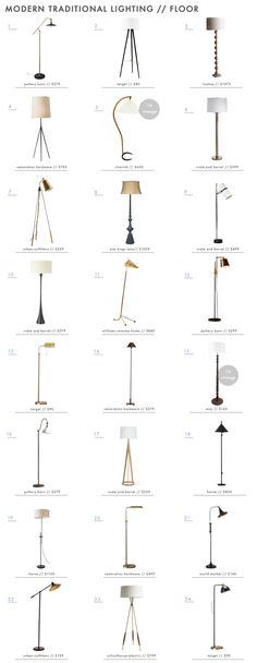 Modern Traditional Style Home: Lighting Roundup Emily Henderson Modern Traditional Lighting Floor La Modern Traditional Decor, Traditional Floor Lamps, Traditional Style Homes, Living Room Decor Traditional, Traditional Lighting, Living Room Modern, Living Rooms, Modern Floor Lamps, Home