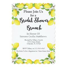 Lemon Watercolor Bridal Shower Brunch Invitation