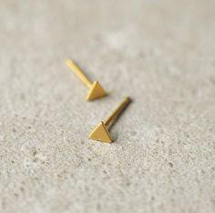 Tiny Stud Earrings, Triangle Earrings, Arrow Earrings, Unique Earrings, Minimalist Earrings, Minimalist Jewelry, Gold Studs, Triangles, Gold Jewelry