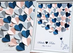 Couple & Kid  Wedding Guest Book Idea with Blush Silver and