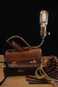 Upcycled Vintage Wood Plane Lamp with Spiral Filament Bulb by BenclifDesigns