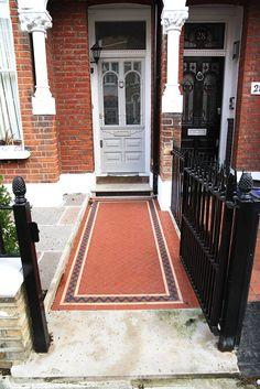 Period style path in London front garden The design of the front garden was… Front Garden Path, Garden Paths, Terrace Garden, Garden Pool, Small Front Gardens, Pool Sizes, Victorian Tiles, Edwardian House, Path Ideas