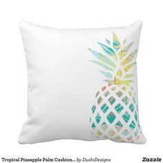 Tropical Pineapple Palm Cushion Throw Pillow