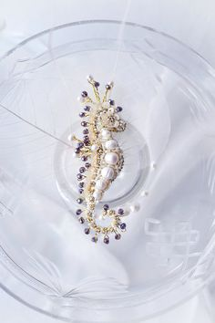 Seahorse brooch, unique Sea creature jewelry, pearl ivory purple hand embroidered Seahorse brooch, luxury pearl brooch gorgeous gift