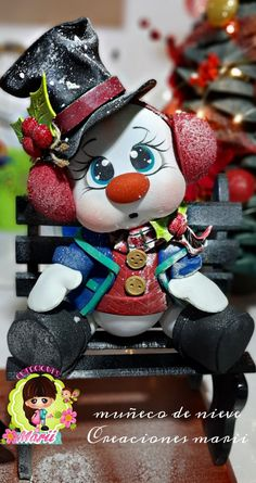 Adornos Halloween, Raggedy Ann, Xmas, Christmas Ornaments, Pasta Flexible, Homemade Crafts, Clay Crafts, Snowman, Dolls