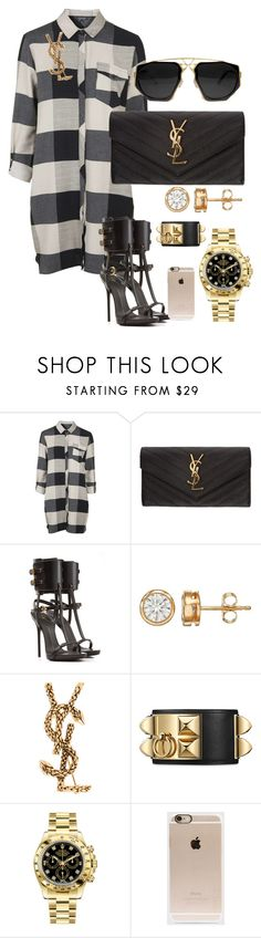 """Untitled #301"" by scannedbyaaron ❤ liked on Polyvore featuring Topshop, Yves Saint Laurent, Giuseppe Zanotti, Rolex and Incase"