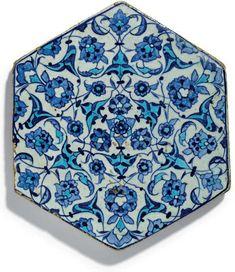 A blue and white hexagonal Iznik tile, Ottoman Turkey, circa 1530