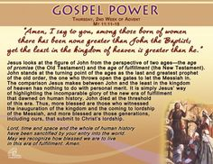 Gospel Power – Thursday 2nd Week of Advent