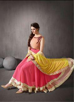 Georgette Thread Work Peach & Pink Unstitched Long Anarkali Suit @LooksGud.in #Peach, #Anarkali, #Wedding, #ThreadWork