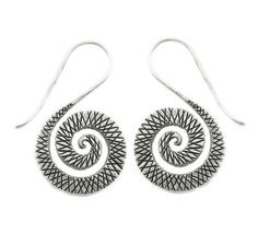 Handmade Sterling Silver Dangle Spiral Earrings by SilverShapes