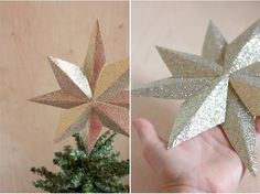 Never let the glitter paper go waste again by making this DIY paper tree topper. It's a fun project which you can undertake with your kids. Christmas Balls Diy, Best Christmas Tree Toppers, Book Christmas Tree, Christmas Star, Christmas Paper, Xmas Tree, Christmas Crafts, Christmas Decorations, Christmas Ideas
