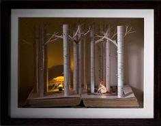 Su Blackwell Portfolio Book-Cut Sculpture, Little Red Riding Hood, Paper Book, Paper Art, Cut Paper, Red Riding Hood Book, Arte Pop Up, Altered Book Art, Portfolio Book, Book Folding, Fine Art Gallery