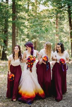 Bridesmaids in Maroon Skirts from Etsy and Forever 21 Lace Tops| A Woodsy Summer Wedding inspired by Colors of the Sunset & Night Sky|Photographer: James Tang Photography
