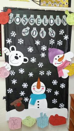 Door Crafts, New Year's Crafts, Diy And Crafts, Crafts For Kids, Arts And Crafts, Christmas Activities, Preschool Activities, Winter Bulletin Boards, Teaching Themes