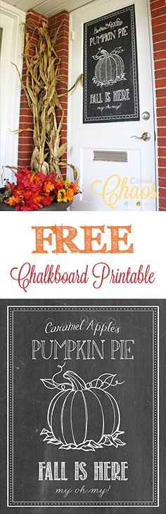 FREE Fall Chalkboard Printable from Corner Chaos!!
