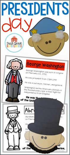 Presidents Day is a packet of activities to celebrate and learn about the holiday. Have your students create the President Lincoln and President Washington crafts. Perfect to accent writing on your classroom bulletin boards.