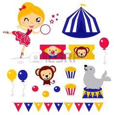 Diseño de elementos de la colección del circo. Foto de archivo. Circus.