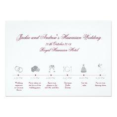 Hawaii Wedding Reception Itinerary Timeline Card