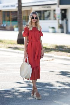 Little Blonde Book by Taylor Morgan   A Life and Style Blog : Ramona Maxi. Red off the shoulder midi dress+brown wedges+white straw shoulder bag. Summer outfit 2016