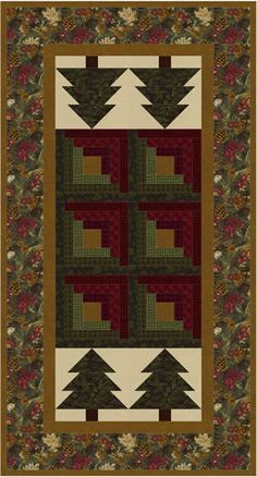 Log Cabin in the Pines Table Runner MF-201 (beginner, table runner)
