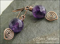 Antiqued copper leaf spiral and amethyst earrings